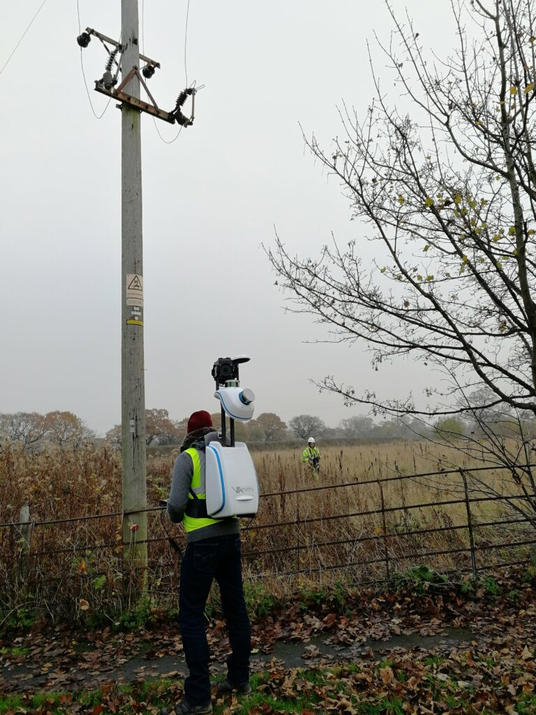 Field worker during mobile mapping campaign